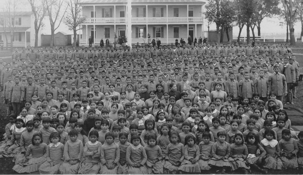 Carlisle Indian School student body, March 1892.
